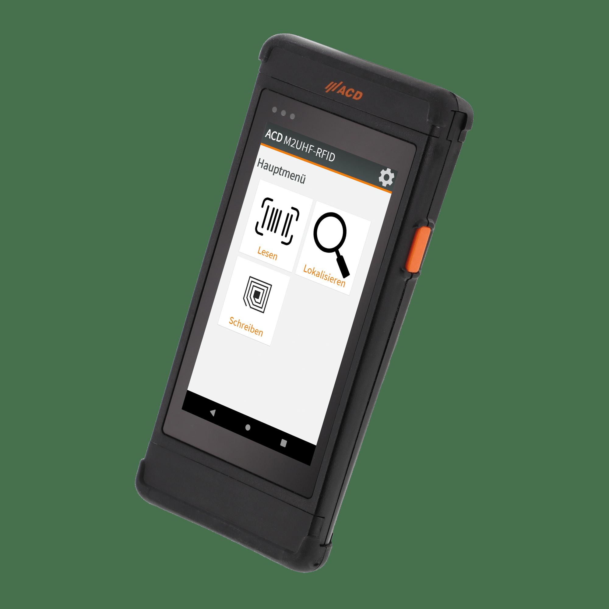 Mobiler Handheld Computer M2SmartSE mit integriertem HF-RFID freigestellt