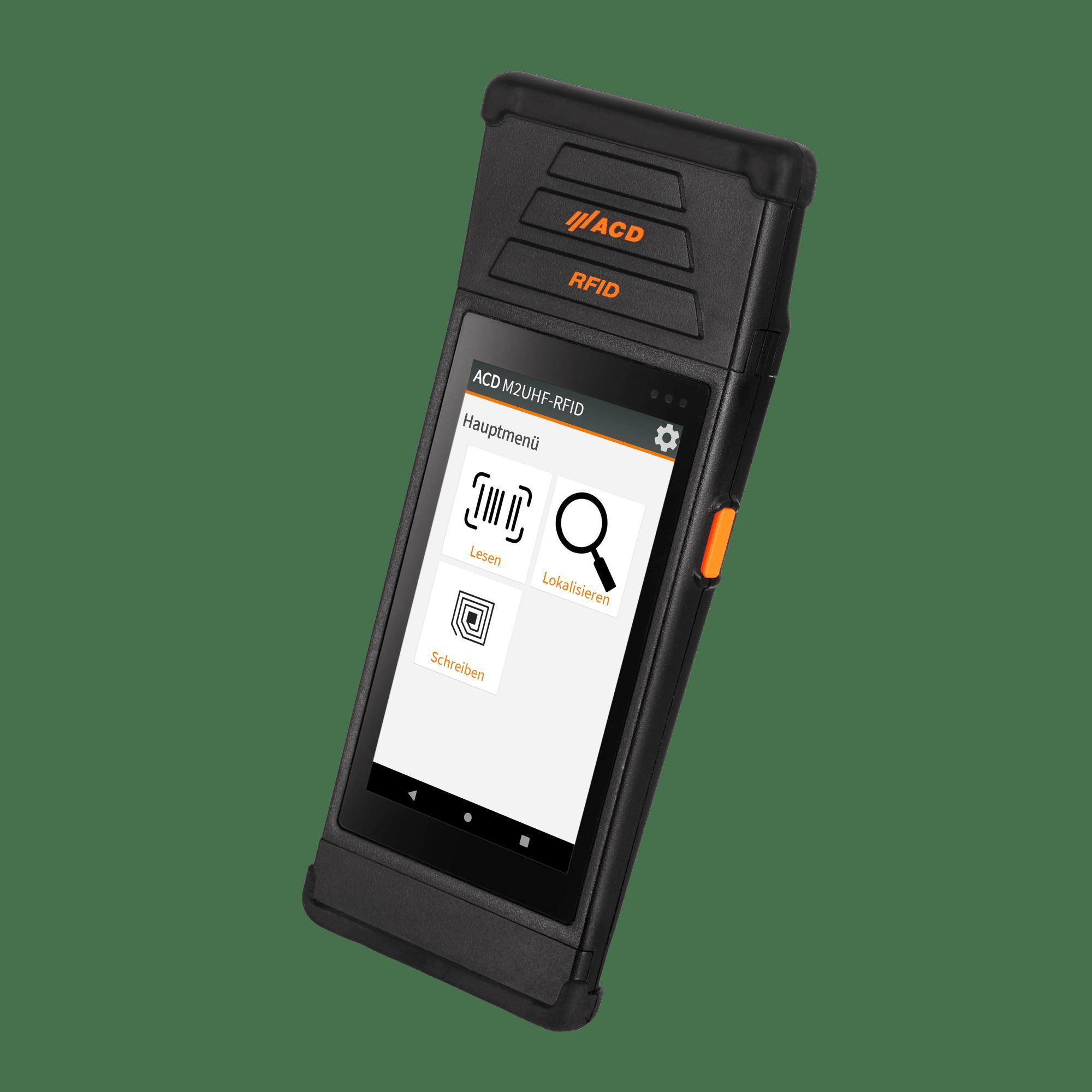 Mobiler Handheld Computer M2SmartSE mit UHF-RFID freigestellt