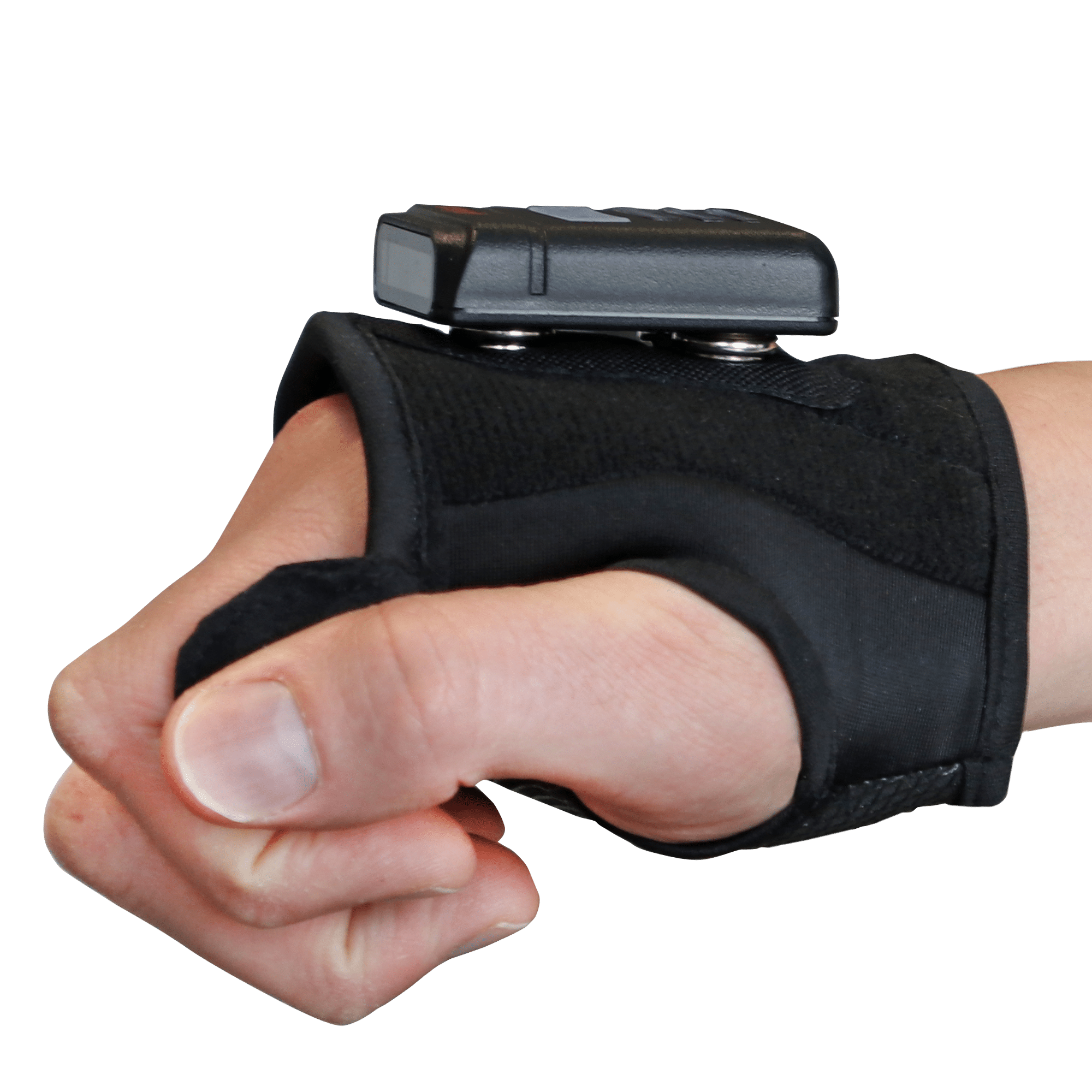 Backhand scanner with hand cuff